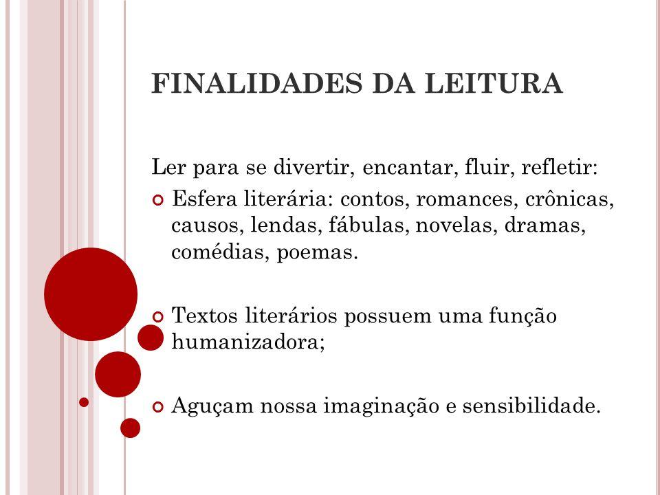 FINALIDADES DA LEITURA Ler para se divertir, encantar, fluir, refletir: Esfera literária: contos, romances, crônicas, causos, lendas, fábulas, novelas