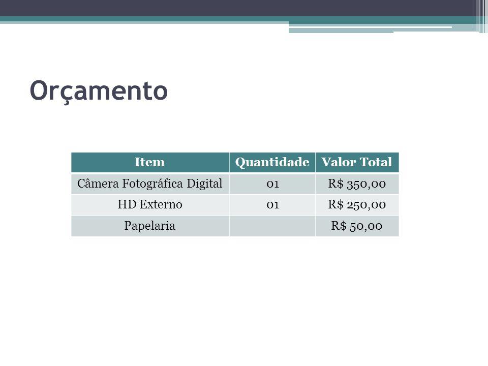 Orçamento ItemQuantidadeValor Total Câmera Fotográfica Digital01R$ 350,00 HD Externo01R$ 250,00 PapelariaR$ 50,00