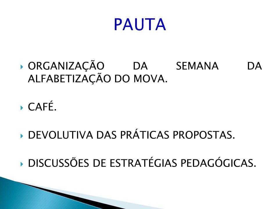 ORGANIZAÇÃO DA SEMANA DA ALFABETIZAÇÃO DO MOVA. CAFÉ. DEVOLUTIVA DAS PRÁTICAS PROPOSTAS. DISCUSSÕES DE ESTRATÉGIAS PEDAGÓGICAS.