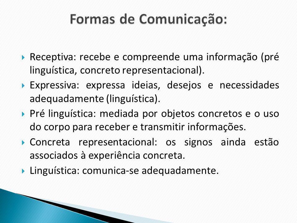 Receptiva: recebe e compreende uma informação (pré linguística, concreto representacional). Expressiva: expressa ideias, desejos e necessidades adequa