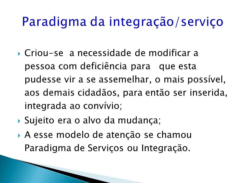 Paradigma da integração/serviço Criou-se a necessidade de modificar a pessoa com deficiência para que esta pudesse vir a se assemelhar, o mais possíve