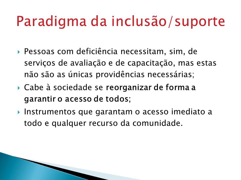 Paradigma da inclusão/suporte Pessoas com deficiência necessitam, sim, de serviços de avaliação e de capacitação, mas estas não são as únicas providên