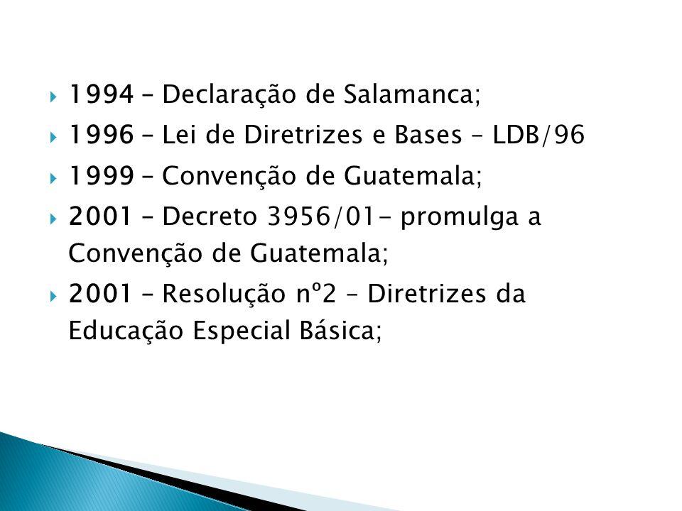 1994 – Declaração de Salamanca; 1996 – Lei de Diretrizes e Bases – LDB/96 1999 – Convenção de Guatemala; 2001 – Decreto 3956/01- promulga a Convenção