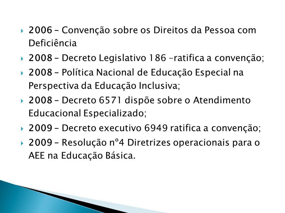 2006 – Convenção sobre os Direitos da Pessoa com Deficiência 2008 – Decreto Legislativo 186 –ratifica a convenção; 2008 – Política Nacional de Educaçã