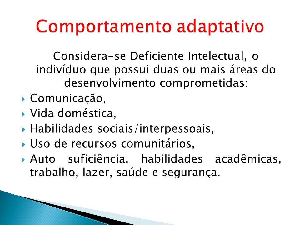 Considera-se Deficiente Intelectual, o indivíduo que possui duas ou mais áreas do desenvolvimento comprometidas: Comunicação, Vida doméstica, Habilida