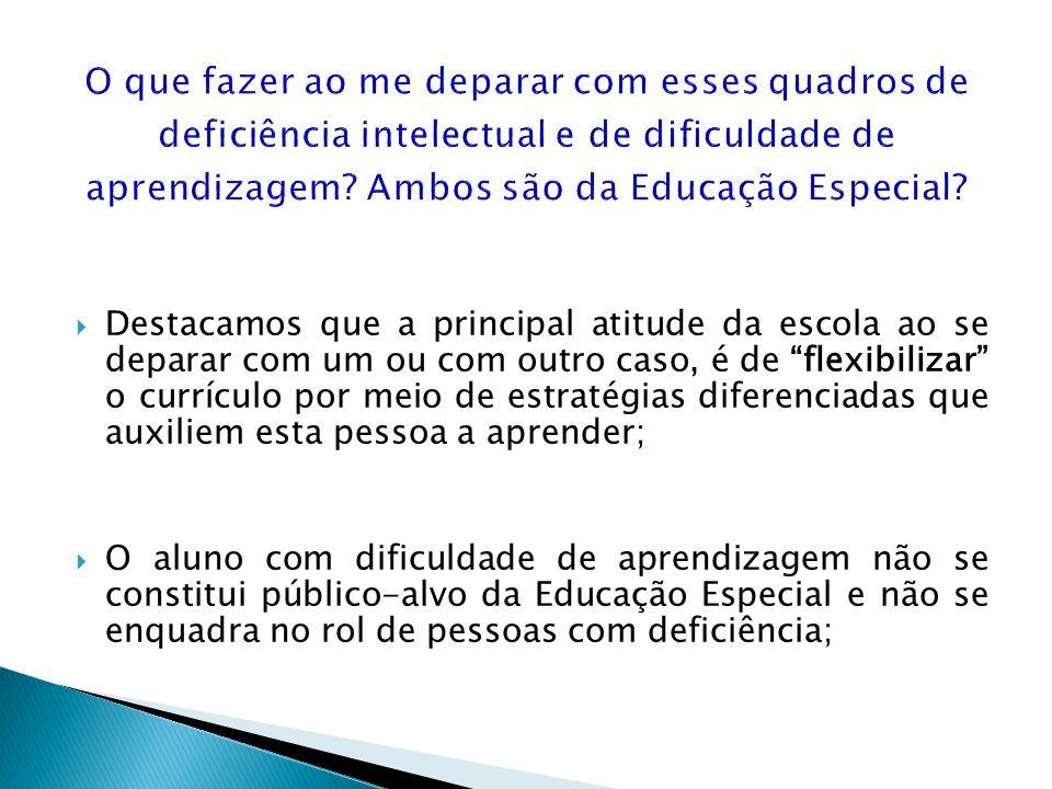 Destacamos que a principal atitude da escola ao se deparar com um ou com outro caso, é de flexibilizar o currículo por meio de estratégias diferenciad