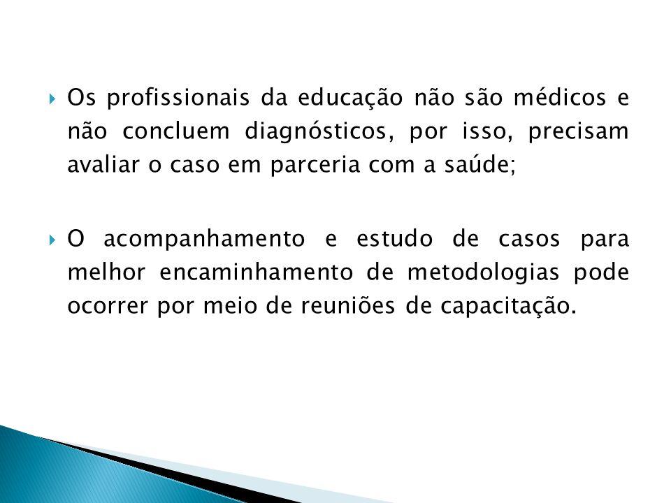 Os profissionais da educação não são médicos e não concluem diagnósticos, por isso, precisam avaliar o caso em parceria com a saúde; O acompanhamento
