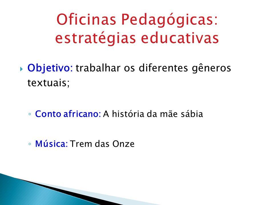 Objetivo: trabalhar os diferentes gêneros textuais; Conto africano: A história da mãe sábia Música: Trem das Onze