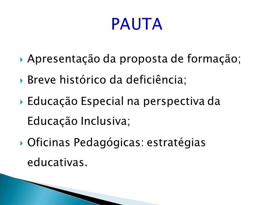 Apresentação da proposta de formação; Breve histórico da deficiência; Educação Especial na perspectiva da Educação Inclusiva; Oficinas Pedagógicas: es