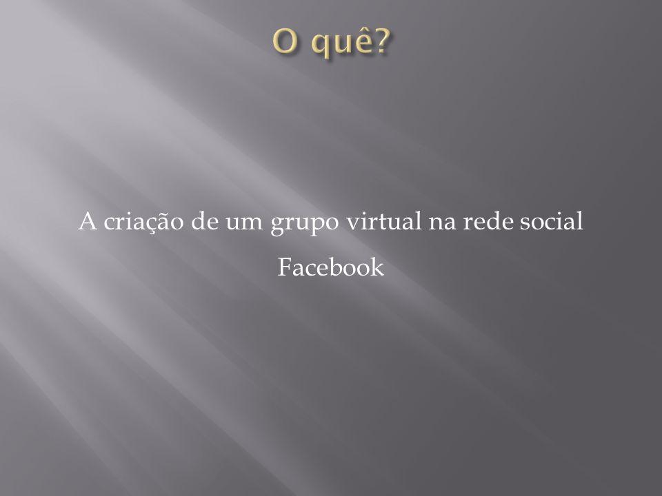 A criação de um grupo virtual na rede social Facebook