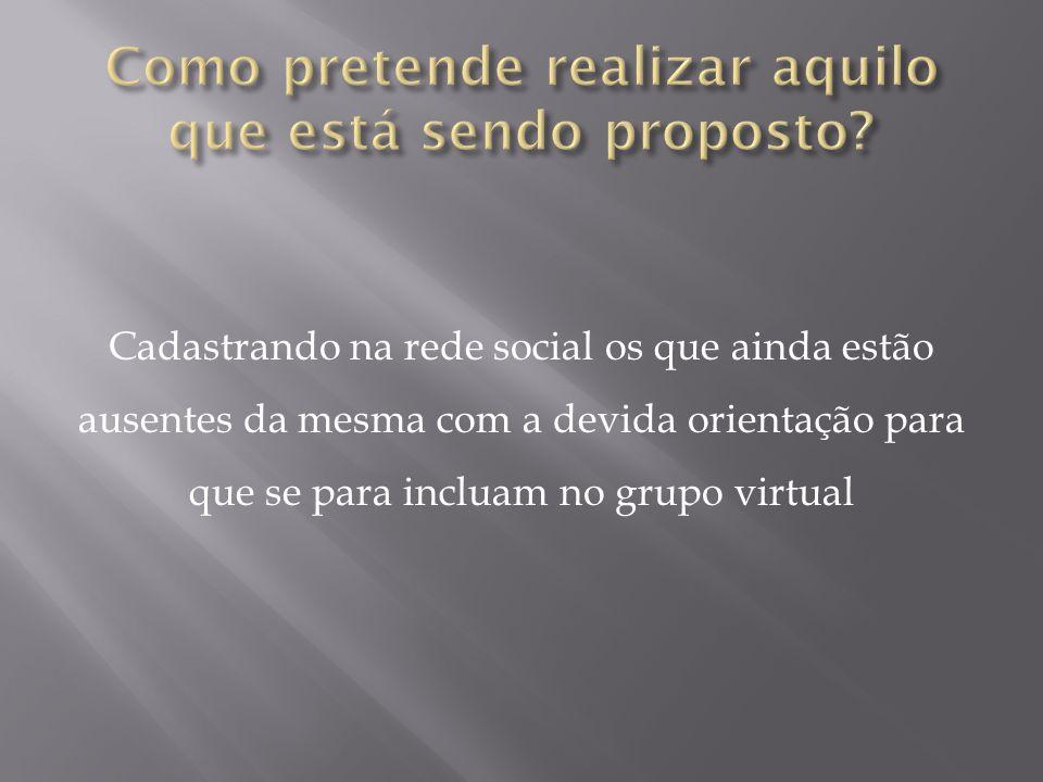 Cadastrando na rede social os que ainda estão ausentes da mesma com a devida orientação para que se para incluam no grupo virtual
