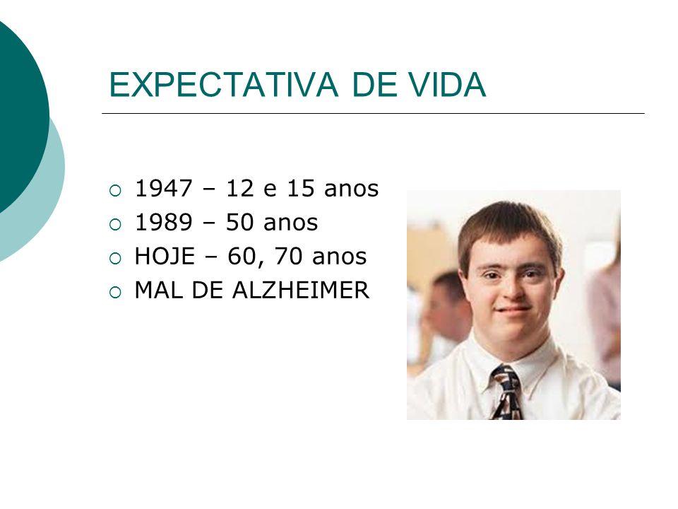 EXPECTATIVA DE VIDA 1947 – 12 e 15 anos 1989 – 50 anos HOJE – 60, 70 anos MAL DE ALZHEIMER