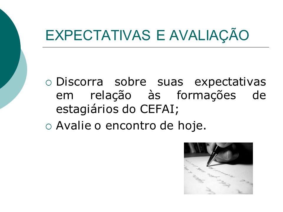 EXPECTATIVAS E AVALIAÇÃO Discorra sobre suas expectativas em relação às formações de estagiários do CEFAI; Avalie o encontro de hoje.
