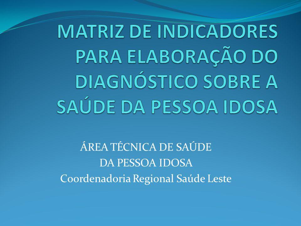 ÁREA TÉCNICA DE SAÚDE DA PESSOA IDOSA Coordenadoria Regional Saúde Leste