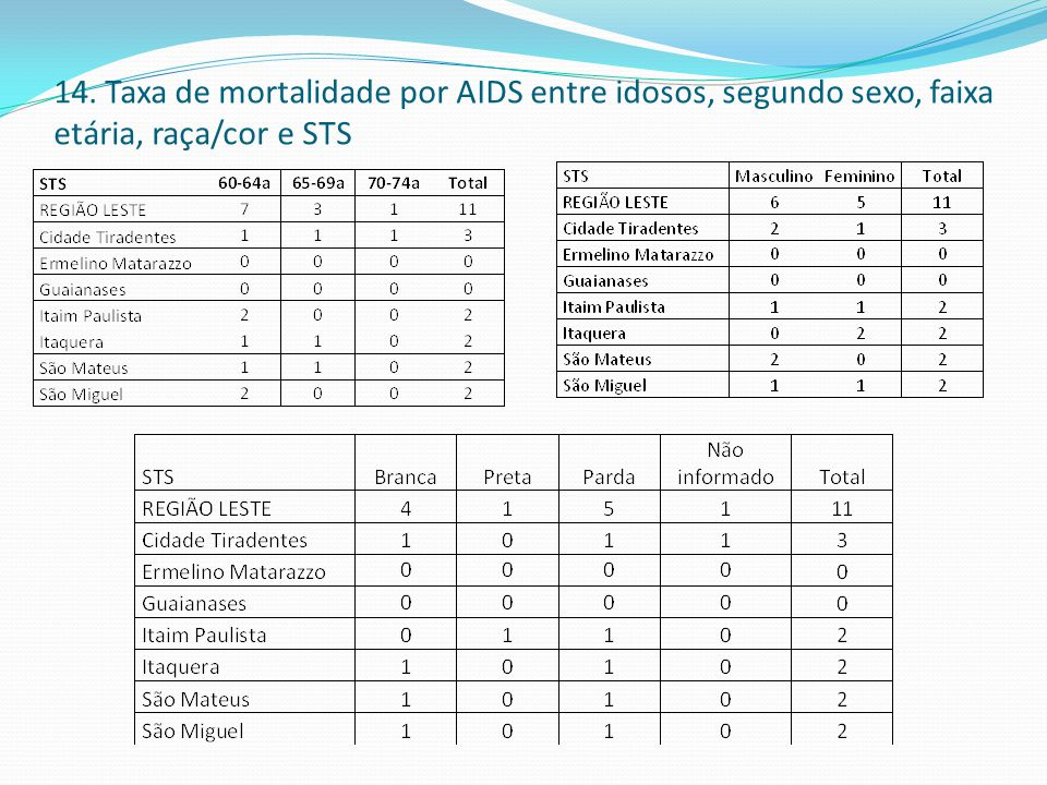 14. Taxa de mortalidade por AIDS entre idosos, segundo sexo, faixa etária, raça/cor e STS