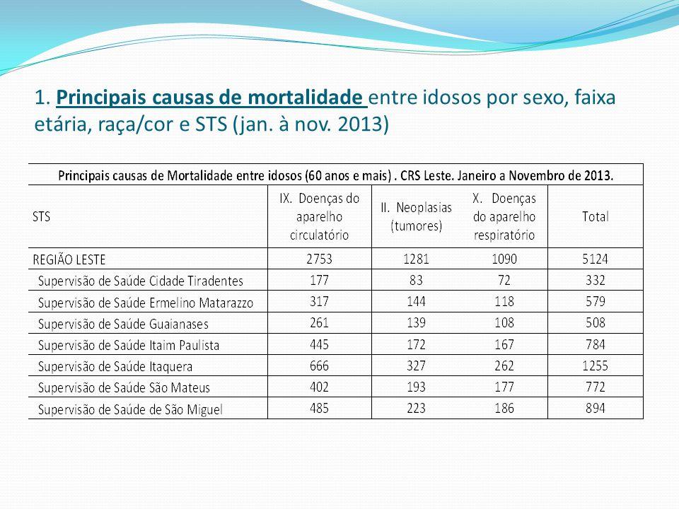 1. Principais causas de mortalidade entre idosos por sexo, faixa etária, raça/cor e STS (jan. à nov. 2013)