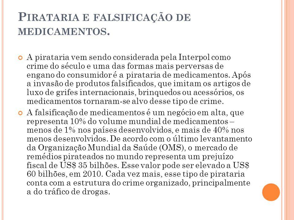A pirataria vem sendo considerada pela Interpol como crime do século e uma das formas mais perversas de engano do consumidor é a pirataria de medicame