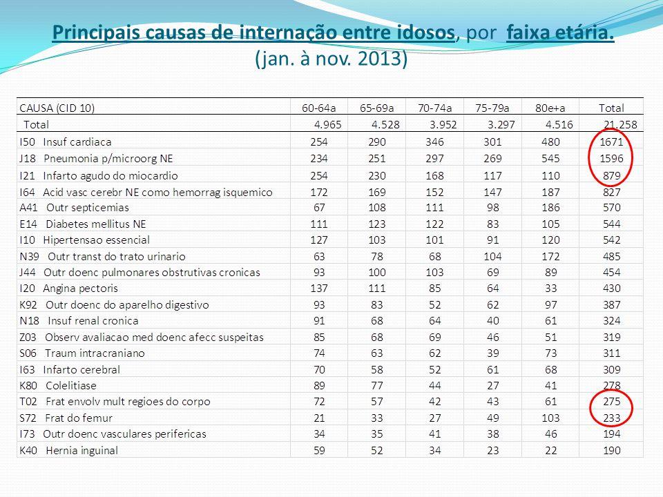 Principais causas de internação entre idosos, por faixa etária. (jan. à nov. 2013)