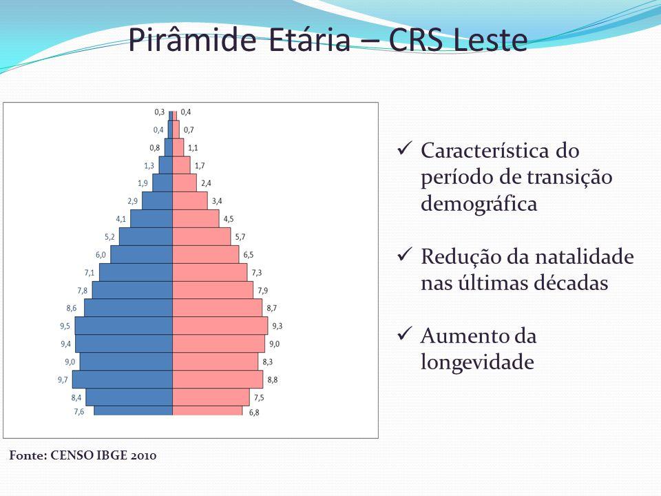 Pirâmide Etária – CRS Leste Característica do período de transição demográfica Redução da natalidade nas últimas décadas Aumento da longevidade Fonte: CENSO IBGE 2010