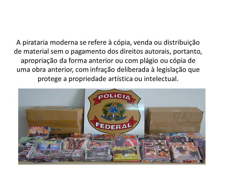 A pirataria moderna se refere à cópia, venda ou distribuição de material sem o pagamento dos direitos autorais, portanto, apropriação da forma anterio