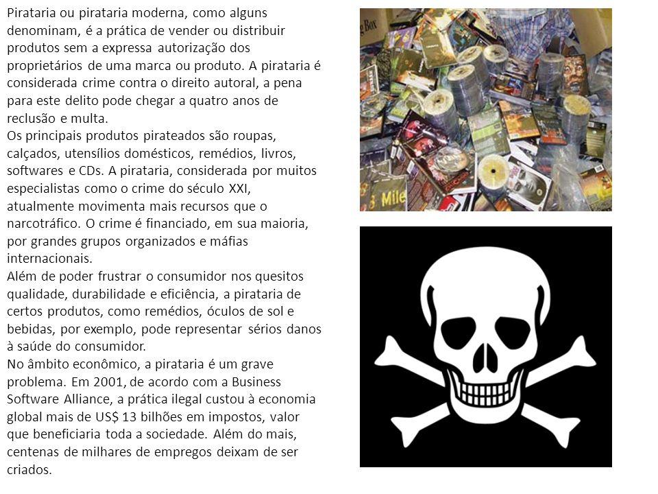Pirataria ou pirataria moderna, como alguns denominam, é a prática de vender ou distribuir produtos sem a expressa autorização dos proprietários de um