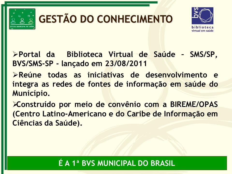 Portal da Biblioteca Virtual de Saúde – SMS/SP, BVS/SMS-SP - lançado em 23/08/2011 Reúne todas as iniciativas de desenvolvimento e integra as redes de