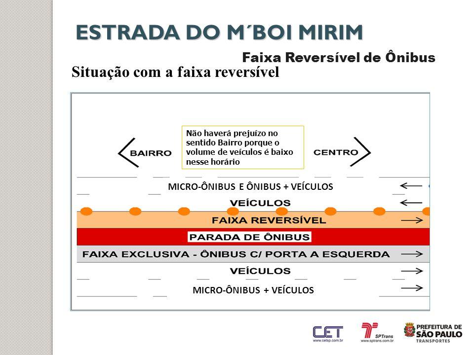 ESTRADA DO M´BOI MIRIM Faixa Reversível de Ônibus Situação com a faixa reversível MICRO-ÔNIBUS E ÔNIBUS + VEÍCULOS Não haverá prejuízo no sentido Bair
