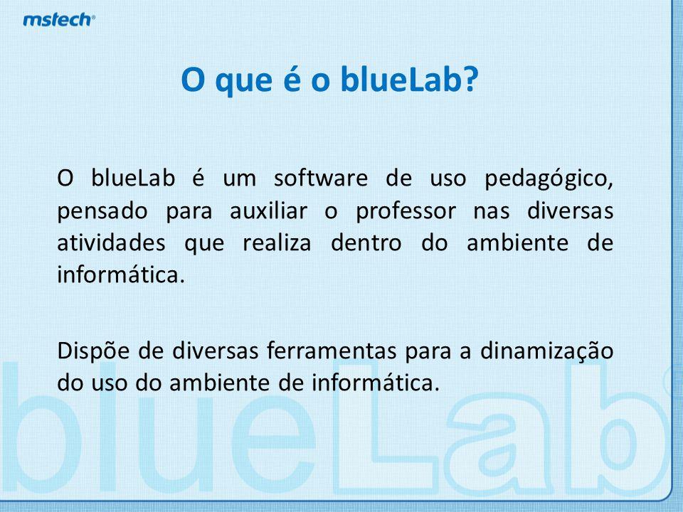 Ferramentas Dentre as ferramentas disponíveis no blueLab, podemos destacar: Envio de tela; Visualização de tela dos alunos; Pedir atenção; Envio de questionários; Controle de mídia; Envio de links; Envio e recebimento de mensagens e arquivos.