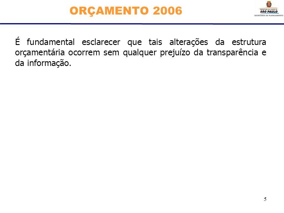 5 ORÇAMENTO 2006 É fundamental esclarecer que tais alterações da estrutura orçamentária ocorrem sem qualquer prejuízo da transparência e da informação
