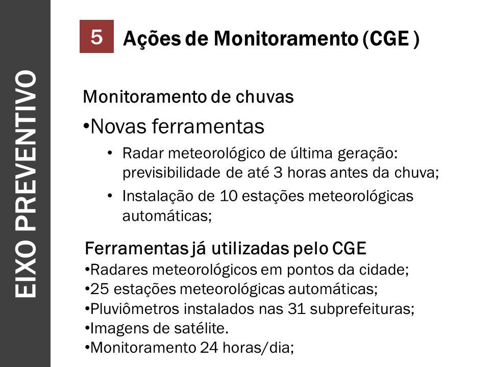 EIXO PREVENTIVO 13 5 Ações de Monitoramento (CGE ) Monitoramento de chuvas Novas ferramentas Radar meteorológico de última geração: previsibilidade de até 3 horas antes da chuva; Instalação de 10 estações meteorológicas automáticas; Ferramentas já utilizadas pelo CGE Radares meteorológicos em pontos da cidade; 25 estações meteorológicas automáticas; Pluviômetros instalados nas 31 subprefeituras; Imagens de satélite.