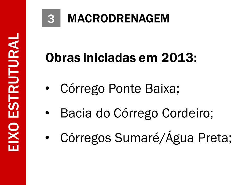 3 MACRODRENAGEM EIXO ESTRUTURAL Obras iniciadas em 2013: Córrego Ponte Baixa; Bacia do Córrego Cordeiro; Córregos Sumaré/Água Preta;