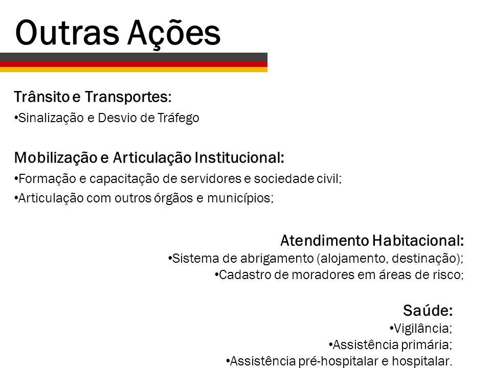 Trânsito e Transportes: Sinalização e Desvio de Tráfego Mobilização e Articulação Institucional: Formação e capacitação de servidores e sociedade civi