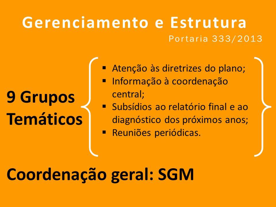 9 Grupos Temáticos Gerenciamento e Estrutura Portaria 333/2013 Atenção às diretrizes do plano; Informação à coordenação central; Subsídios ao relatório final e ao diagnóstico dos próximos anos; Reuniões periódicas.