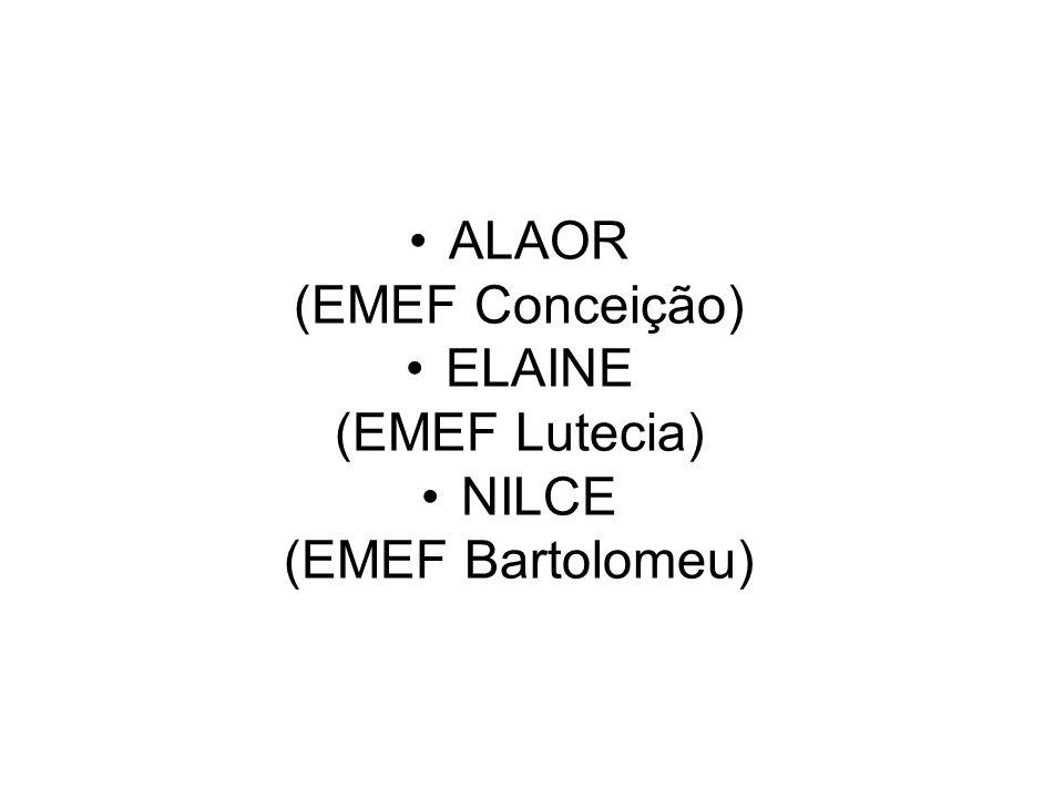ALAOR (EMEF Conceição) ELAINE (EMEF Lutecia) NILCE (EMEF Bartolomeu)