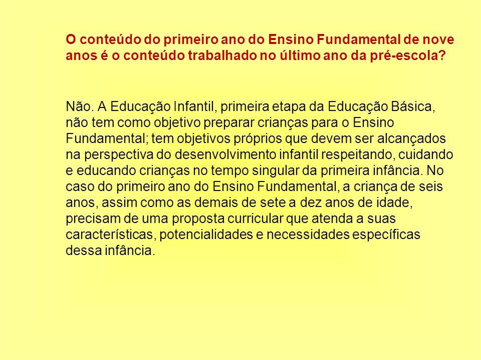 O conteúdo do primeiro ano do Ensino Fundamental de nove anos é o conteúdo trabalhado no último ano da pré-escola.