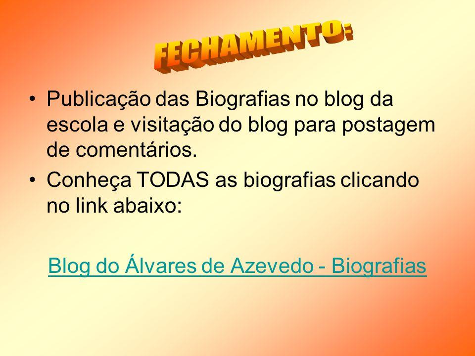 Publicação das Biografias no blog da escola e visitação do blog para postagem de comentários.