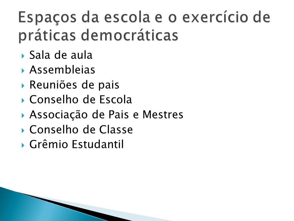 Sala de aula Assembleias Reuniões de pais Conselho de Escola Associação de Pais e Mestres Conselho de Classe Grêmio Estudantil