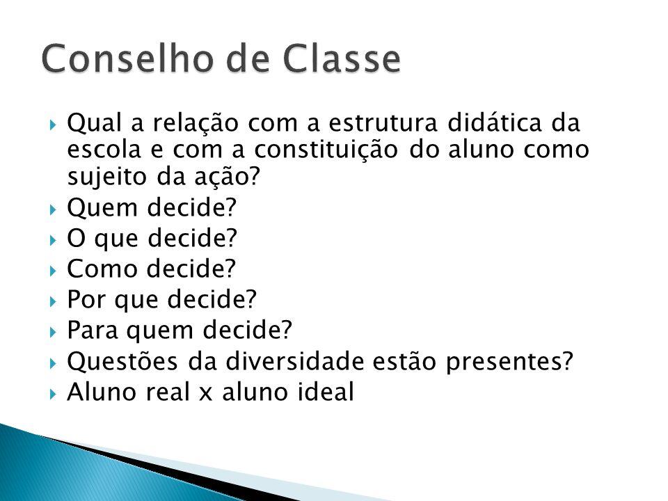Qual a relação com a estrutura didática da escola e com a constituição do aluno como sujeito da ação.