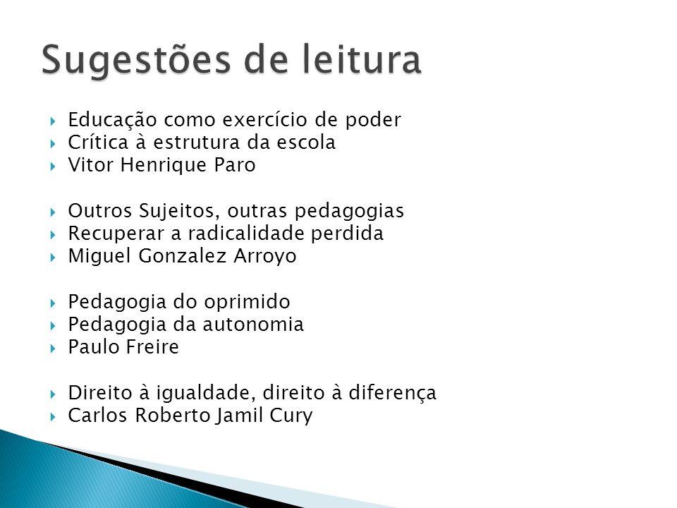 Educação como exercício de poder Crítica à estrutura da escola Vitor Henrique Paro Outros Sujeitos, outras pedagogias Recuperar a radicalidade perdida