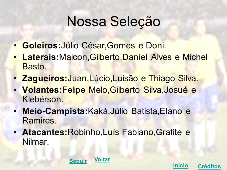 Nossa Seleção Goleiros:Júlio César,Gomes e Doni.