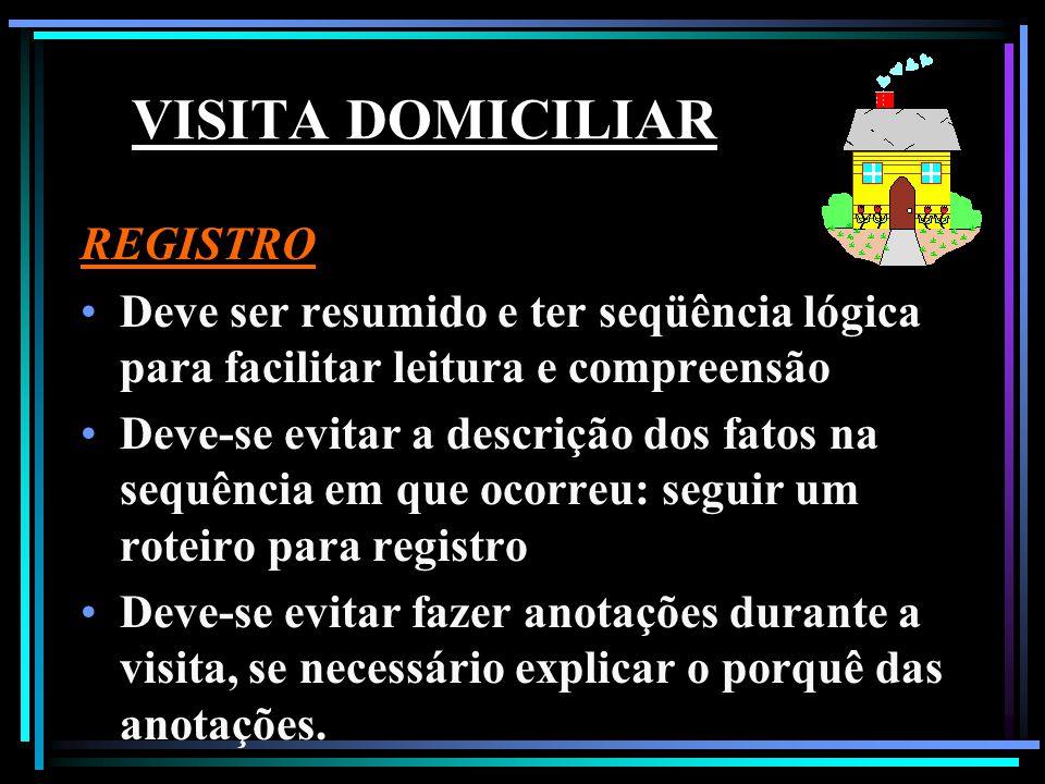 VISITA DOMICILIAR REGISTRO Deve ser resumido e ter seqüência lógica para facilitar leitura e compreensão Deve-se evitar a descrição dos fatos na sequê