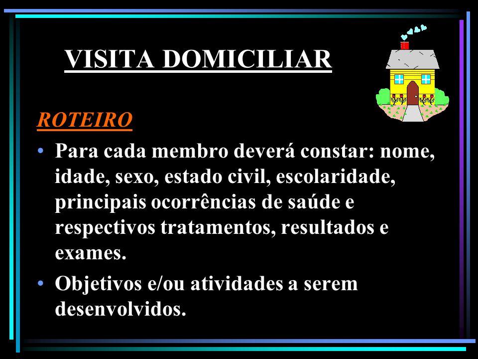 VISITA DOMICILIAR ROTEIRO Para cada membro deverá constar: nome, idade, sexo, estado civil, escolaridade, principais ocorrências de saúde e respectivo