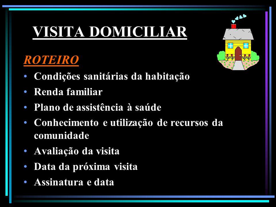VISITA DOMICILIAR ROTEIRO Condições sanitárias da habitação Renda familiar Plano de assistência à saúde Conhecimento e utilização de recursos da comun