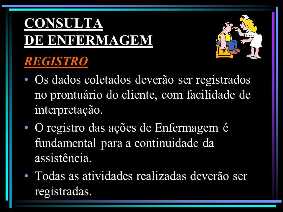 CONSULTA DE ENFERMAGEM REGISTRO Os dados coletados deverão ser registrados no prontuário do cliente, com facilidade de interpretação. O registro das a