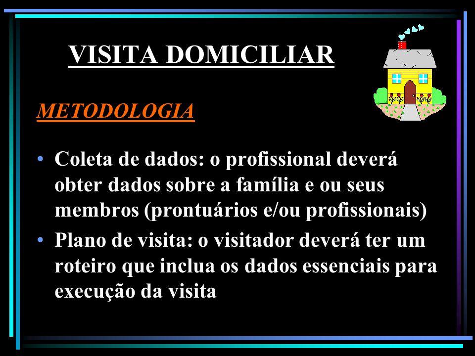 METODOLOGIA Coleta de dados: o profissional deverá obter dados sobre a família e ou seus membros (prontuários e/ou profissionais) Plano de visita: o v