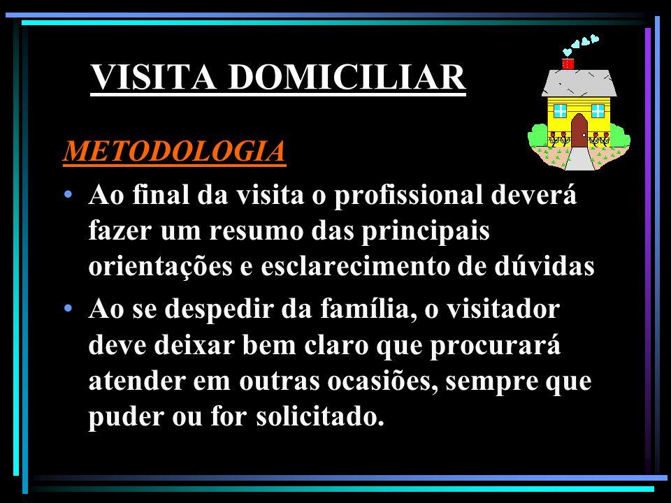 VISITA DOMICILIAR METODOLOGIA Ao final da visita o profissional deverá fazer um resumo das principais orientações e esclarecimento de dúvidas Ao se de