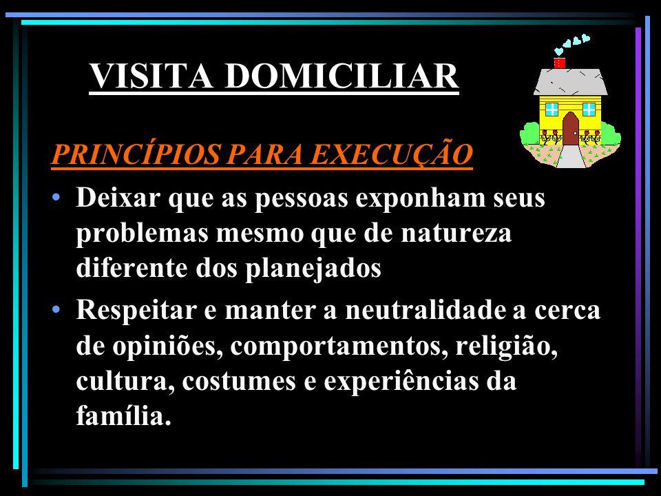 VISITA DOMICILIAR PRINCÍPIOS PARA EXECUÇÃO Caso seja prejudicial à saúde, o visitador deverá sutilmente explicar cientificamente os malefícios que poderão ocorrer.