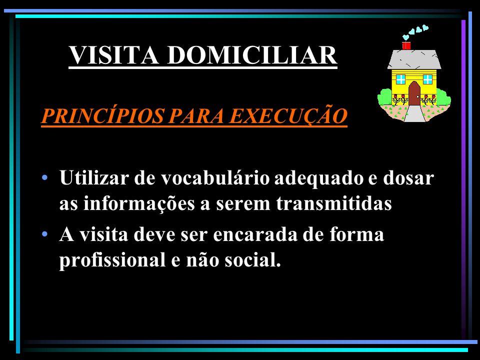 VISITA DOMICILIAR PRINCÍPIOS PARA EXECUÇÃO Utilizar de vocabulário adequado e dosar as informações a serem transmitidas A visita deve ser encarada de