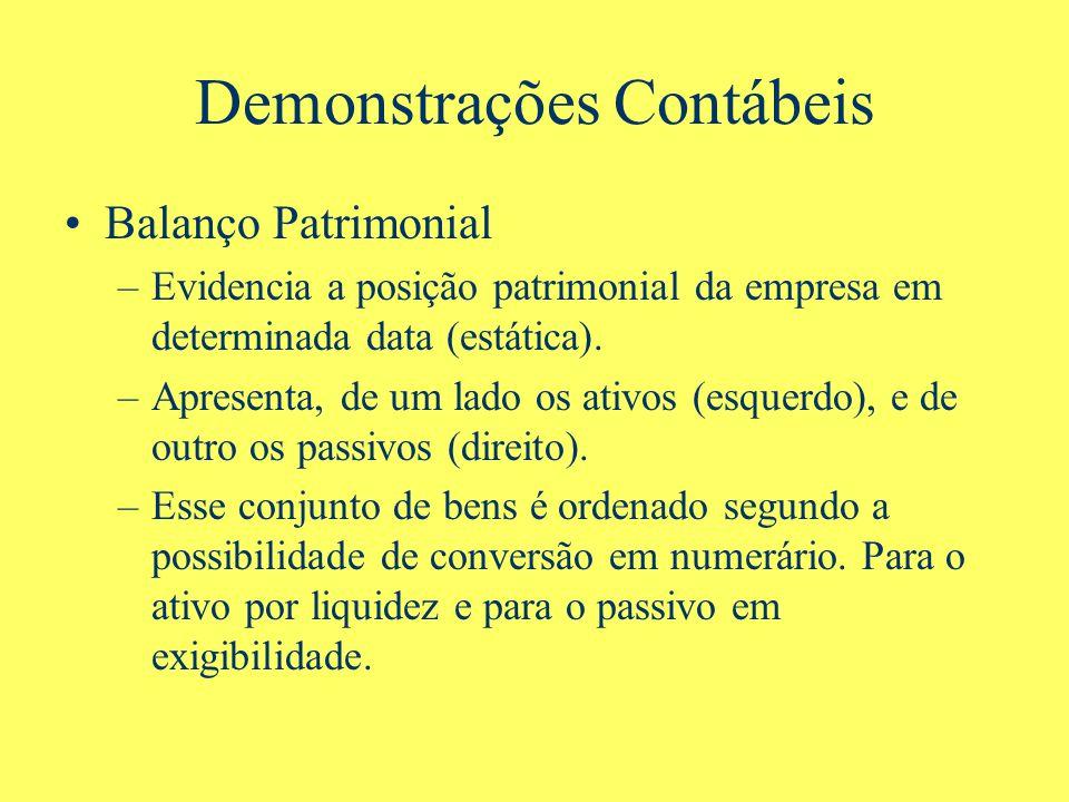 Demonstrações Contábeis Balanço Patrimonial –Evidencia a posição patrimonial da empresa em determinada data (estática). –Apresenta, de um lado os ativ