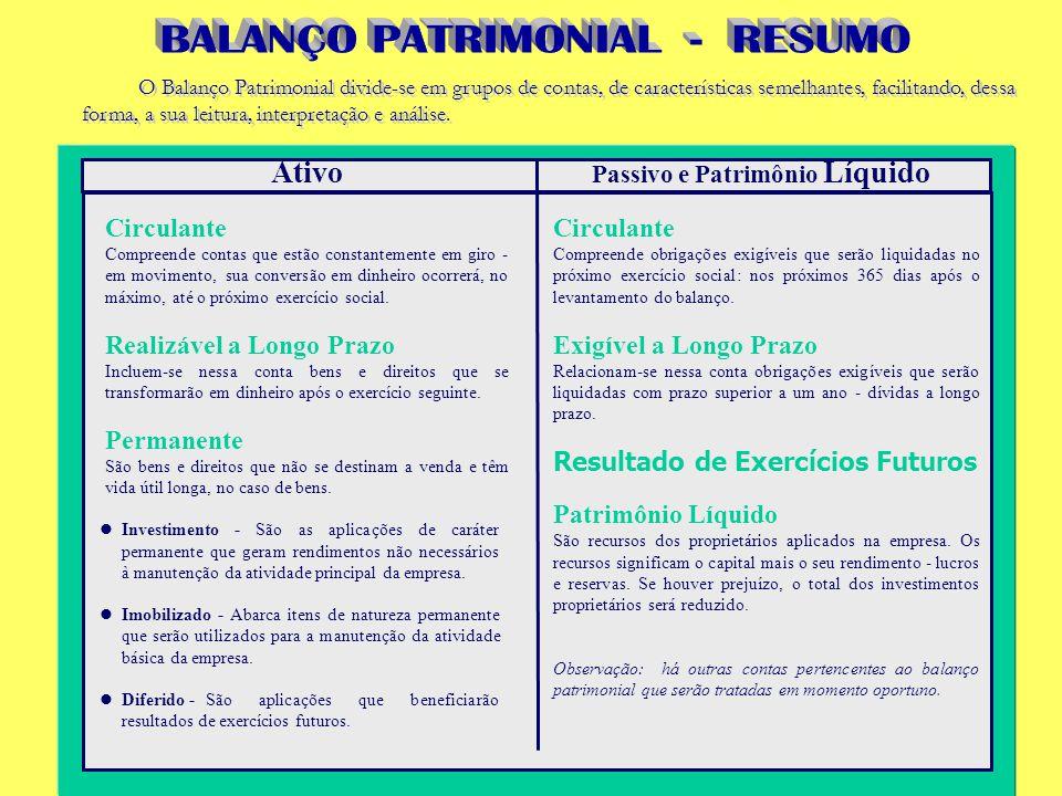 O Balanço Patrimonial divide-se em grupos de contas, de características semelhantes, facilitando, dessa forma, a sua leitura, interpretação e análise.